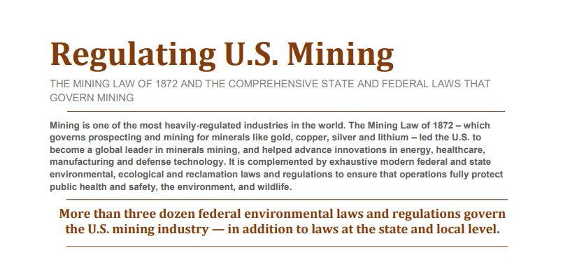 Fact Sheet: Regulating U S  Mining - National Mining Association